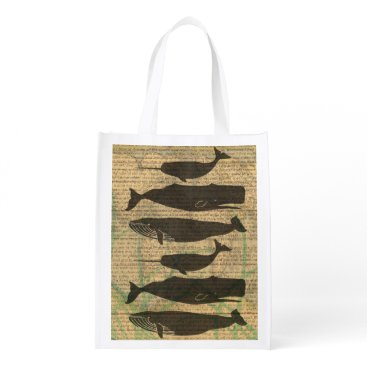 Beach Themed Antique Whale Rustic Art Nautical Reusable Grocery Bag