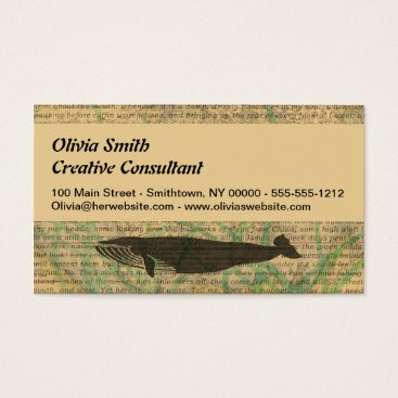 Beach Themed Antique Whale Vintage Artwork Rustic Business Card