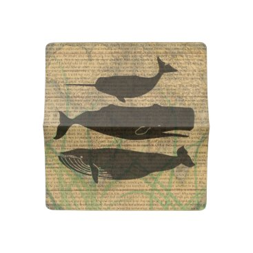 Beach Themed Antique Whale Vintage Artwork Rustic Checkbook Cover