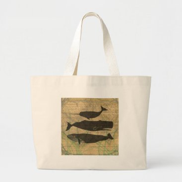 Beach Themed Antique Whale Vintage Artwork Rustic Large Tote Bag