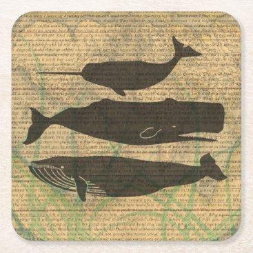 Antique Whale Vintage Artwork Rustic Square Paper Coaster