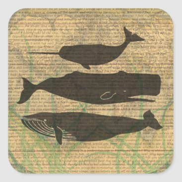 Beach Themed Antique Whale Vintage Artwork Rustic Square Sticker