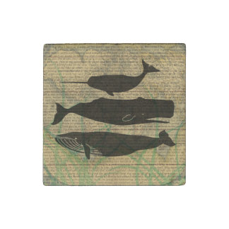 Antique Whale Vintage Artwork Rustic Stone Magnet