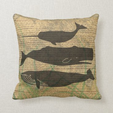 Beach Themed Antique Whale Vintage Artwork Rustic Throw Pillow