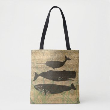 Beach Themed Antique Whale Vintage Artwork Rustic Tote Bag