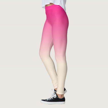 Antique White and Winter Sky Pink Ombre Pattern Leggings