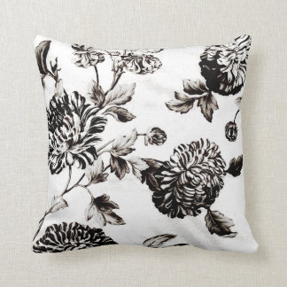 Antique White & Black Botanical Floral Toile No.2 Throw Pillow