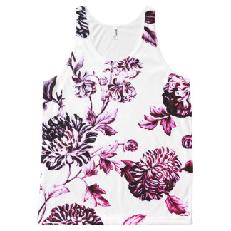 Antique White Black & Rose Floral Toile No.2 All-Over-Print Tank Top