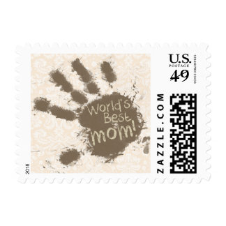 Antique White Damask Pattern; Funny Mom Postage Stamps