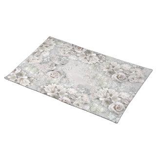 Antique White Flowers Cloth Placemat