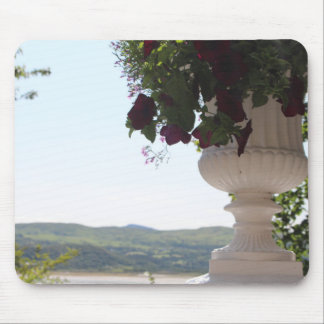 Antique White Italian Potted Flowers With View Mouse Pad