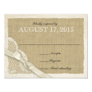 "Antique White Lace Country Response Card 4.25"" X 5.5"" Invitation Card"
