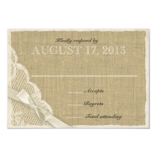 "Antique White Lace Country Response Card 3.5"" X 5"" Invitation Card"