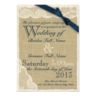 Antique White Lace Country Wedding Navy 5x7 Paper Invitation Card