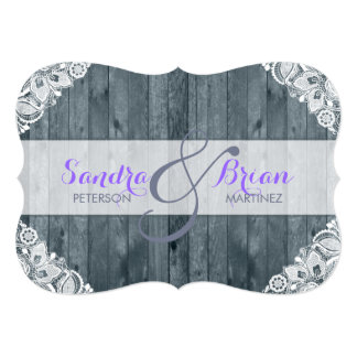 Antique White Lace Rustic Wood Weeding Invitation