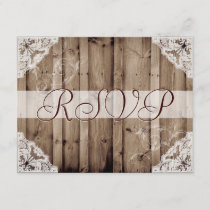 Antique White Lace Wedding RSVP