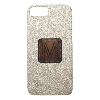 Antique white Leather Look Monogram iPhone 7 Case