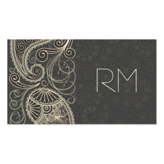 Antique White Paisley On Dark Gray Pattern Design Double-Sided Standard Business Cards (Pack Of 100)