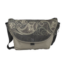 Antique White Paisley On Dark Gray Pattern Design Courier Bag