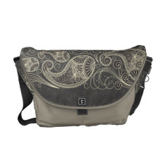 Antique White Paisley On Dark Gray Pattern Design Courier Bag at Zazzle