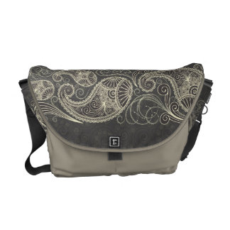 Antique White Paisley On Dark Gray Pattern Design Courier Bags