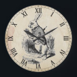 """Antique White Rabbit Roman Numeral Wall Clock<br><div class=""""desc"""">Graphic is the White Rabbit from Alice in Wonderland with Roman numeral clock face and an antiqued paper background</div>"""