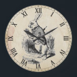 "Antique White Rabbit Roman Numeral Wall Clock<br><div class=""desc"">Graphic is the White Rabbit from Alice in Wonderland with Roman numeral clock face and an antiqued paper background</div>"