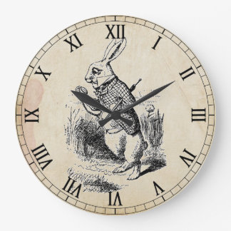 Antique White Rabbit Roman Numeral Wall Clock