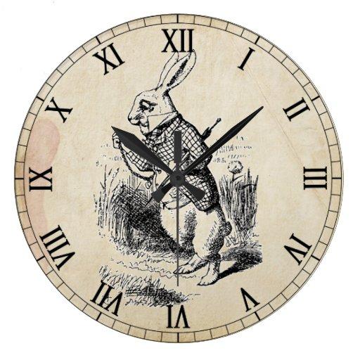 Antique White Rabbit Roman Numeral Wall Clock