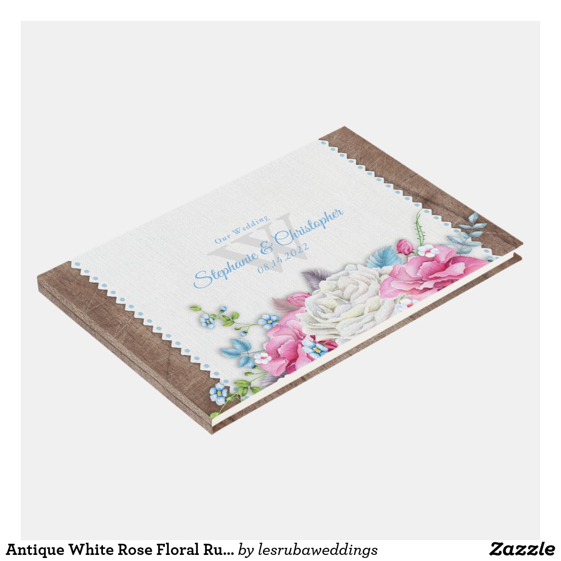 Antique White Rose Floral Rustic Guest Book