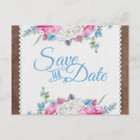 Antique White Rose Floral Rustic Save the Date Announcement Postcard