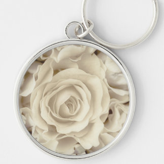 Antique White Roses, Ice Green Satin, template Keychain