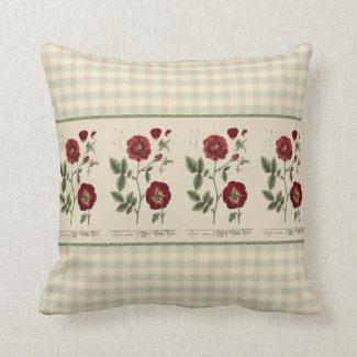 Antique Wild Rose Print Pillow 16x16