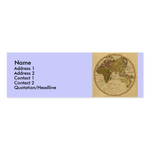 Antique William Faden 1786 Eastern Hemisphere Map Double-Sided Mini Business Cards (Pack Of 20)