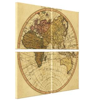Antique William Faden 1786 Eastern Hemisphere Map Canvas Print