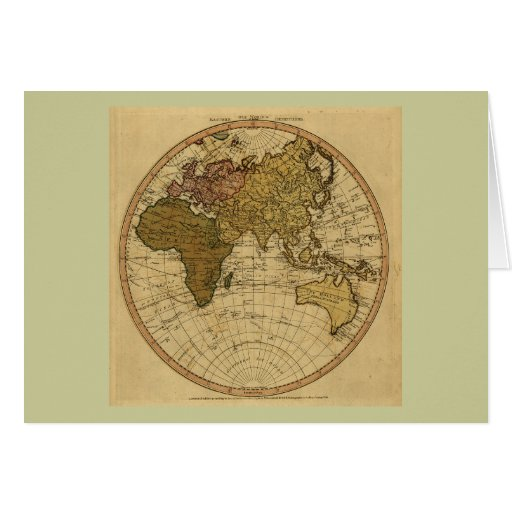 Antique William Faden 1786 Eastern Hemisphere Map Card