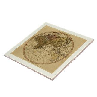Antique William Faden 1786 Eastern Hemisphere Map Ceramic Tile