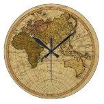 Antique William Faden 1786 Eastern Hemisphere Map Clocks