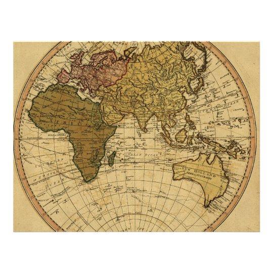 Antique William Faden 1786 Eastern Hemisphere Map Flyer