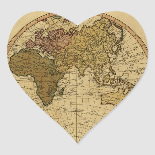 Antique William Faden 1786 Eastern Hemisphere Map Heart Sticker
