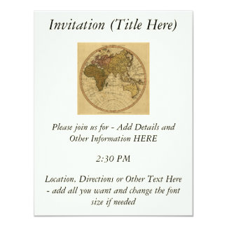 Antique William Faden 1786 Eastern Hemisphere Map 4.25x5.5 Paper Invitation Card