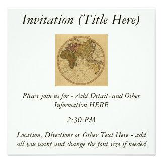 Antique William Faden 1786 Eastern Hemisphere Map 5.25x5.25 Square Paper Invitation Card