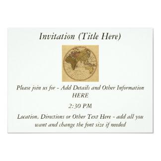 Antique William Faden 1786 Eastern Hemisphere Map 4.5x6.25 Paper Invitation Card