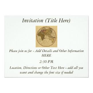 Antique William Faden 1786 Eastern Hemisphere Map 5.5x7.5 Paper Invitation Card