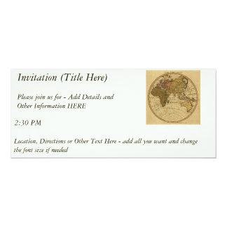 Antique William Faden 1786 Eastern Hemisphere Map 4x9.25 Paper Invitation Card