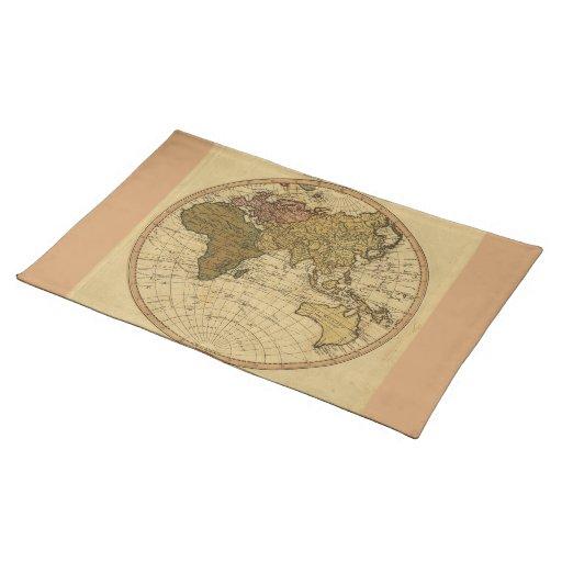 Antique William Faden 1786 Eastern Hemisphere Map Placemats