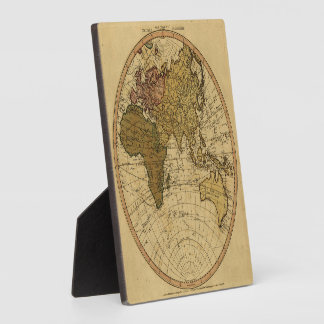 Antique William Faden 1786 Eastern Hemisphere Map Display Plaques