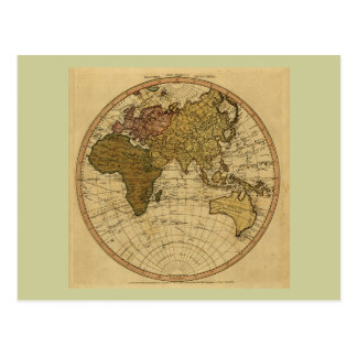 Antique William Faden 1786 Eastern Hemisphere Map Postcard