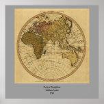 Antique William Faden 1786 Eastern Hemisphere Map Poster