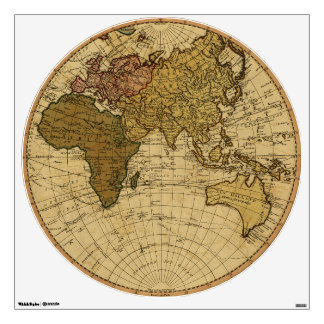Antique William Faden 1786 Eastern Hemisphere Map Wall Decal